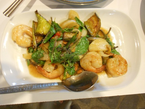 Eggplant and shrimp.  Not pictured: fat rice noodles and pork, yellow curry and chicken.  Best food so far on the trip.