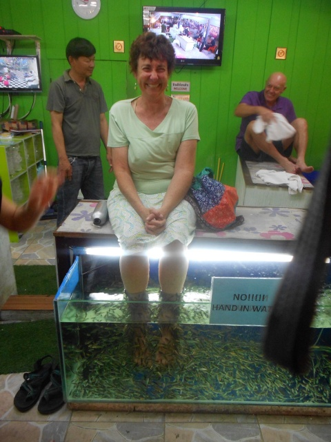 And the ultimate Eco-friendly tickly fishy pedicure.
