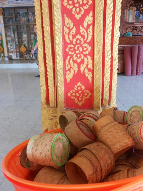 Sticky rice baskets in a temple.