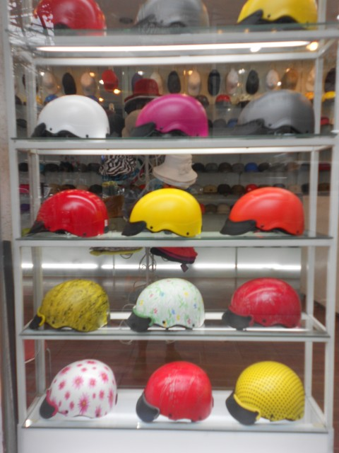 Taking the motorcycle helmet to a new level.  Wish I had a need for the polka dot one.