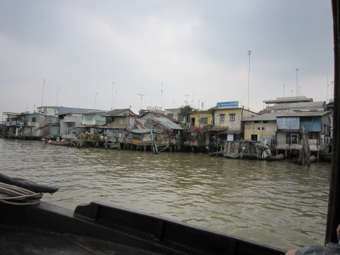 Taking the boat into Cambodia, we noticed how populated the river was in Viet Nam and not so much in Cambodia.