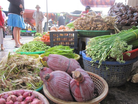 The markets were rich in fresh vegetables and fruits, fish and rice.