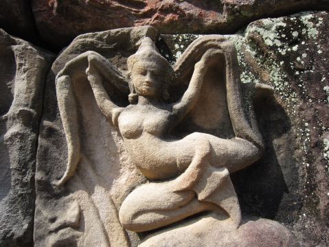 Apsara, the dancing Goddess.  The temples of Angkor Wat are  wonderful mix of hindu and buddhist figures.